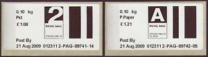 2009 early Post & Go type stamps. 2nd Packet & Airmail Printed Paper rates.