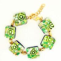 Murano Glass Bracelet Beautiful Green White Gold from Venice
