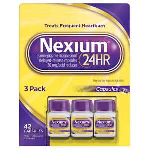 Nexium 24HR Acid Reducer 20mg., 42 Capsules FAST SHIPPING EX 2024