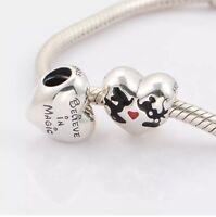 Mickey and Minnie Disney Kiss Heart Charm Bead Genuine 925 Sterling Silver