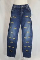 Escada Sport Sexy Boyfriend Medium Rise Tapered Blue Denim Jeans Dragonflies NWT