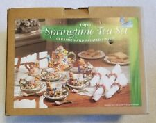 Springtime Tea Set 19 Pcs Ceramic Hand Painted Finish ~Perfect For Easter~ *NEW*