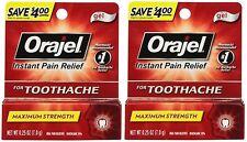 2 Pack - Orajel Maximum Stregnth Gel Instant Toothache Pain Relief .33oz Each
