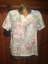 WOMENS ALFRED DUNNER SHORT SLEEVE SHIRT BLOUSE SIZE LARGE