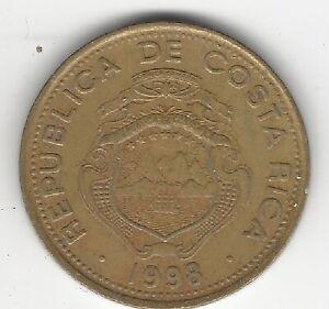 1998, Costa Rica 100 Colones, Republica de Costa Rica, B.C.C.R, Coin, Money
