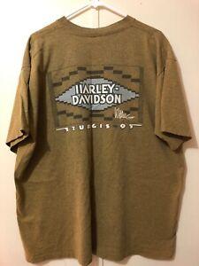 Harley Davidson Sturgis 95 Willie G Biker Tee Shirt Sz XL SS Brown/Yellow