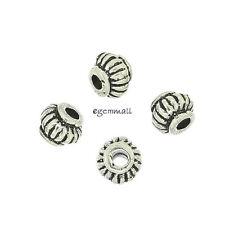 4 Antiqued Bali Sterling Silver Pumpkin Rondelle Spacer Beads ap. 4.5mm #99109