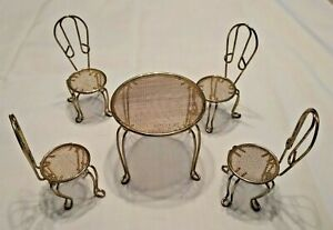 5 Piece Doll House Miniature Gold Wire Mesh Table Chairs Patio Ice Cream set
