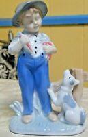 Vintage Porcelain Boy With Dog Figurine Blue & White Lego Japan
