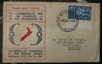 1936 Wanganui New Zealand First Day Cover FDC To Darlington England