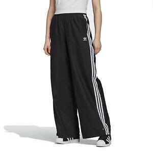 adidas Originals Women's Bellista Wide Leg Black Track Pants Ripstop Trousers