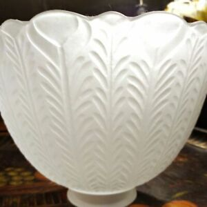 Frosted Glass Bell Lampshade Lamp Shade w/ Vertical Striped Leaf Pattern