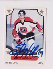 91/92 Steve Washburn Ottawa 67's Autographed OHL Hockey Card