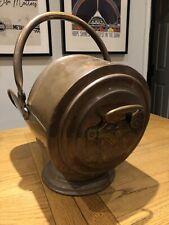 Vintage Copper Brass Coal Scuttle Storage Log Bucket
