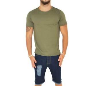 T- shirt basic uomo in cotone elastico verde militare slim fit girocollo con cuc