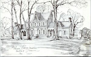 Milford Delaware Parson Thorne Mansion Charles Overly Art Vtg Postcard GU