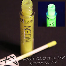 NEON LIP GLOSS in YELLOW UV, BLACK LIGHT, UV, PARTY, FLUORESCENT, RAVE, SHIMMER