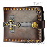 T&T Punk Brown Leather Skull Cross Wallet H28B