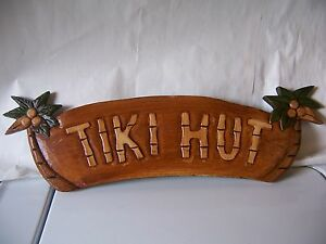 "HOME DECOR PALM TREE SIGN ""TIKI HUT"" HAND CARVED NEW!"