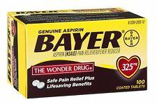Genuine Bayer Aspirin Pain Reliever / Fever 325 mg,100 Coat Tab,exp 05/22(3 pck)
