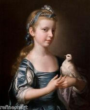 Joseph Wright of Derby: Girl with a Dove Handmade Oil Painting repro