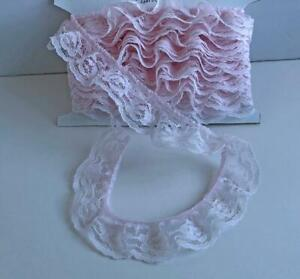 """Vintage 1 1/4"""" Wide Ruffled Gathered Lace Trim 5 Yards Pink Soft Binding Roses"""
