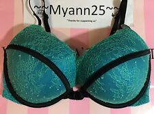 $65 VICTORIAS SECRET BOMBSHELL PLUNGE ADDS 2 CUPS PUSH-UP 32C BLUE BRA NWT(E617)