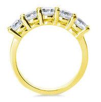 1 carat, 5 Round DIAMOND Wedding Ring Anniversary band 14K Yellow Gold, G-SI1