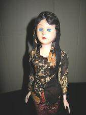 "Vintage Hard Plastic Blue Sleep Eyes 13"" Doll Oriental Souvenir Collectible"