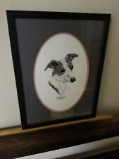 "Stitched Needlepoint Italian Greyhound Dog Picture Framed Handmade 10""x14"""