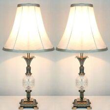 2x Vintage Bedside Table Lamps w/ Glass Metal Base