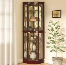 380be0496983 Lighted Corner Curio Cabinet Wood Antique Display Shelving Cupboard Unit  Shelves