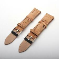 Natural cork with Sliver watch strap rustic cork with PU leather handmade vegan