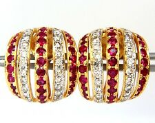 █$4000 4.50ct NATURAL RED RUBY DIAMOND EARRINGS 14KT BEAD SET FIVE ROW 3D