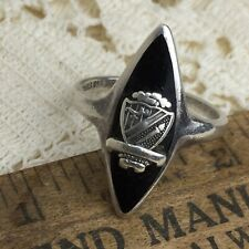 Vintage Beta Sigma Phi Sorority Crest Ring 6 6.5 Sterling Silver Marquise Onyx