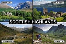 SOUVENIR FRIDGE MAGNET of THE SCOTTISH HIGHLANDS & BEN NEVIS & LOCH NESS