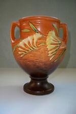 """Roseville Art Pottery  8"""" Handled Freesia Vase in Tangerine - 196-8 MINT"""