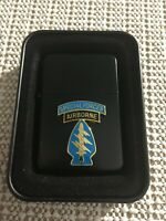 US ARMY SPECIAL FORCES AIRBORNE STAR BRAND CIGARETTE LIGHTER WITH GIFT TIN