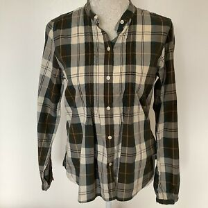 Barbour Ladies Long Sleeve Checked Kingfisher Cotton Shirt Blouse Top Size 12