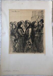 GUERRE 14 18 STEINLEN L'ALLOCATION MILITAIRE LITHOGRAPHIE 1915