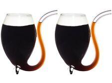 2 x Vinology IRISH COFFEE GLASSES Sipping Straw Handblown WINE GLASSES 175ml
