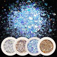 8 Boxes Set Nail Art Glitter Sequins Flakes Sparkly 3D Hexagon UV Gel Decoration