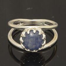 Handmade Vintage 925 Sterling Silver Ring Size 7.75 with Genuine Kyanite 8mm