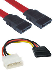 MULTI PACK of 2x Cables 1x 45cm SATA DATA Lead + 1x Serial ATA POWER Converter