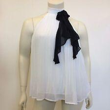 Next donna bianco in chiffon plissettato Fiocco Collo Alto SERRATURA Blusa UK taglia 16