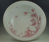C.1874 BROWN WESTHEAD MANDARIN-GEISHAS HUGE WASH BOWL, BASIN RED TRANSFERWARE