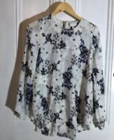Witchery Long Sleeve Floral Blue Top Blouse Size 8