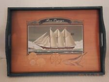 "WOODEN NAUTICAL SERVING TRAY 17.5"" X 13"" ""BON  VOYAGE"" NEW   T7"