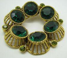 Vintage GOLD TONE BROOCH PIN Faux Emerald & Peridots STUNNING GREEN Victorian