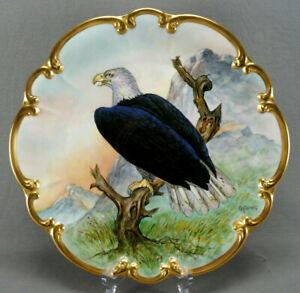 Tirschenreuth Artist Signed C Koenig Hand Painted Bald Eagle & Gold Charger
